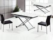 "Table repas rectangulaire ""Nina"" blanc - 150/120x75x75 cm"
