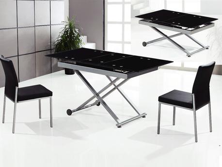 """Table repas rectangulaire """"Nina"""" noir - 150/120x75x75 cm"""
