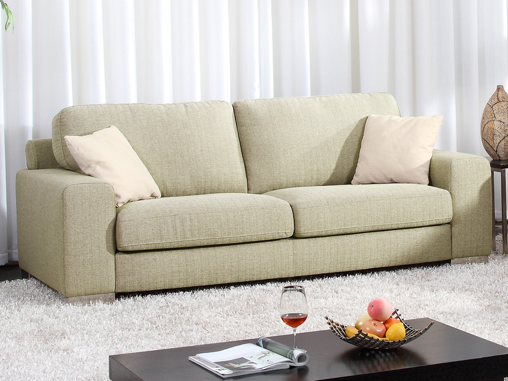 Canap fixe tissu victor 3 places beige 54018 57713 - Changer tissu canape ...