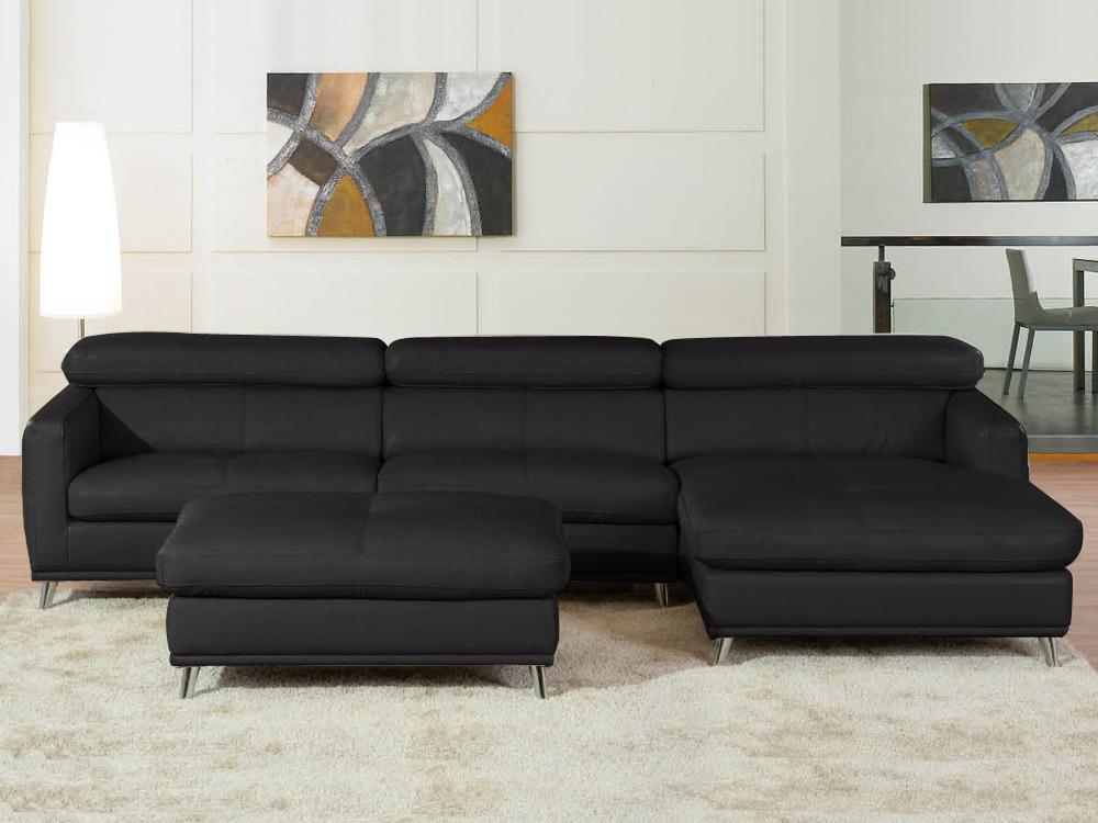 Canap d 39 angle cuir de vachette julia 5 places noir for Protection canape cuir