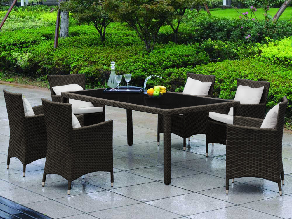 salon de jardin julia en r sine tress e marron 1 table avec plateau en verre 200 x 100 x h74. Black Bedroom Furniture Sets. Home Design Ideas