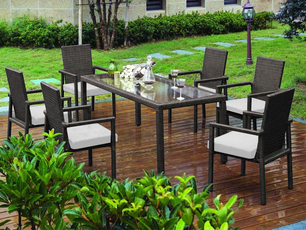 salon de jardin en r sine tress e noire 1 table avec plateau en verre 180 x 81 x 72 cm 6. Black Bedroom Furniture Sets. Home Design Ideas
