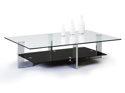 Table basse rectangulaire en m tal et verre 54395 - Table basse verre et metal ...