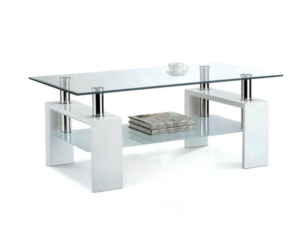 Table basse double plateau en mdf blanc 54368 - Table pliante rectangulaire double plateaux ...