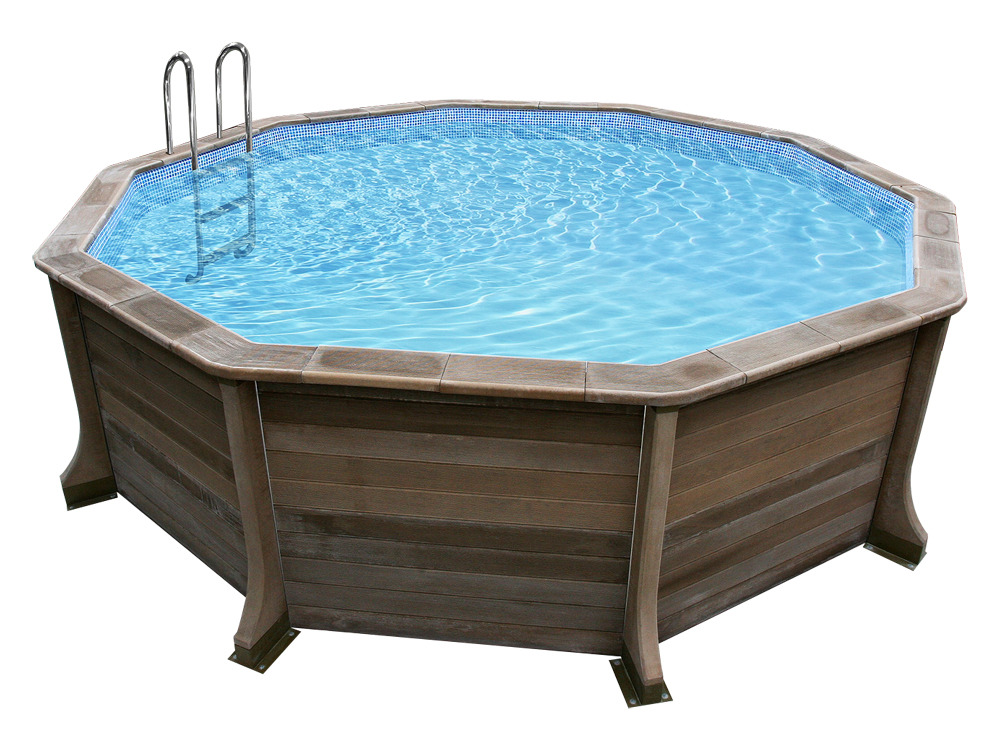 Piscine b ton aspect bois en kit d cagonale x for Piscine 95