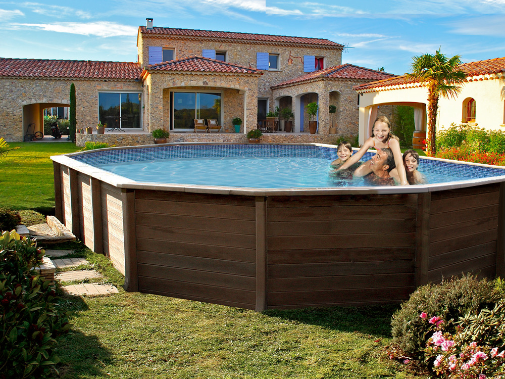 Piscine b ton aspect bois en kit d cagonale allong e naturalis 2 7 77 x 4 74 x 1 30 m - Piscine enterree en kit ...