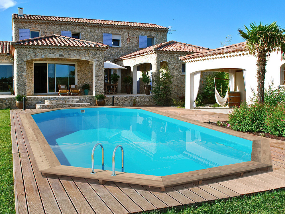 Piscine bois palma x x m 66239 for Piscine hexagonale hors sol