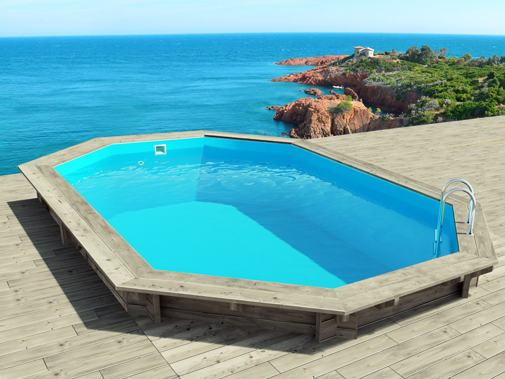 Piscine bois cancun x x m 66247 for Installation piscine semi enterree bois