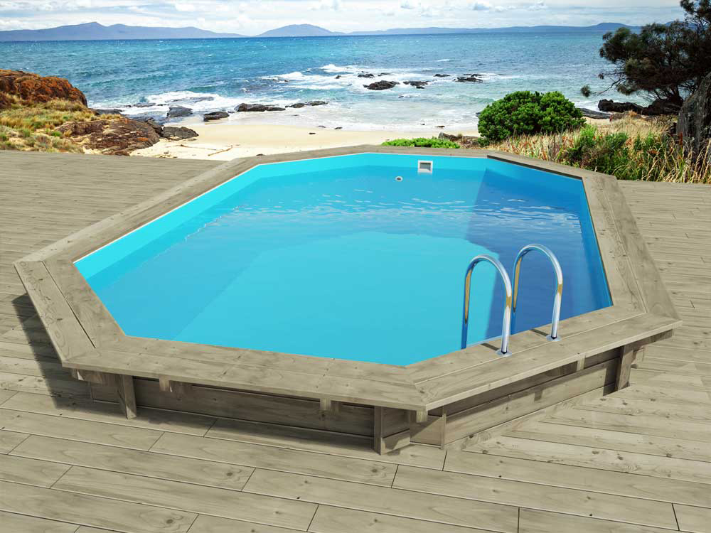 Piscine bois florida x x m 66250 for Piscine hexagonale bois