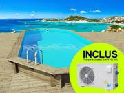 Piscine bois   Ibiza   - 8.57 x 4.57 x 1.31 m + Pompe à chaleur 5 kW/45 m3