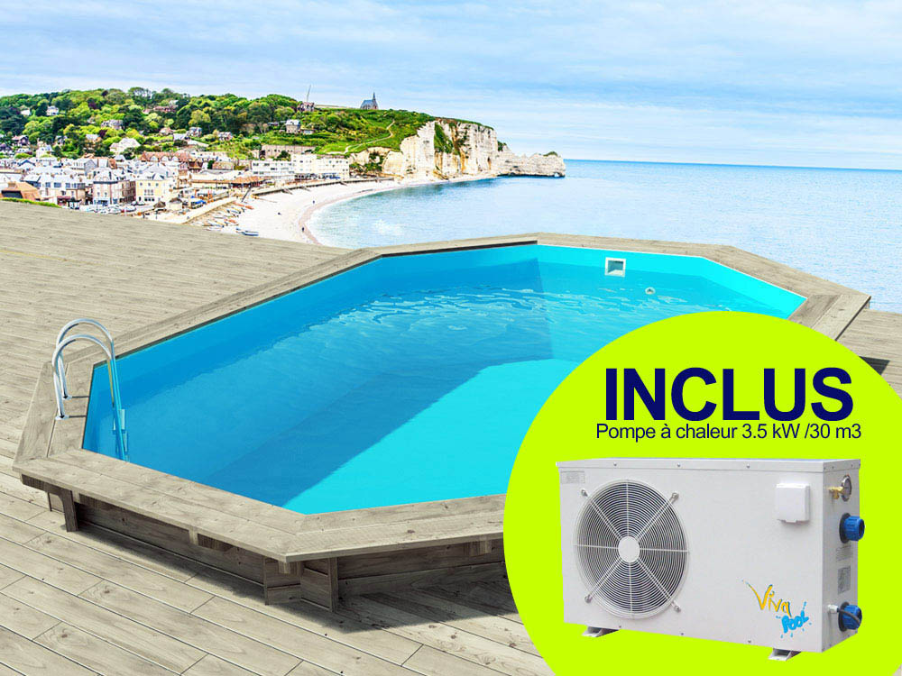 Piscine bois brazilia x x m pompe for Piscine 86