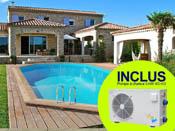 """Piscine bois """" Palma """" - 7.57 x 4.07 x 1.31 m + Pompe à chaleur 5 kW/45 m3"""