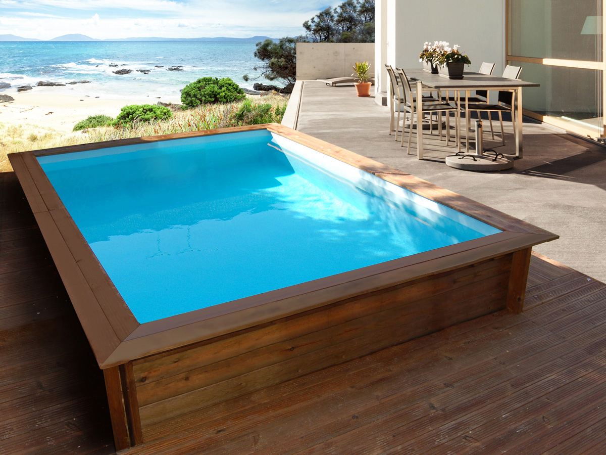 Piscine bois rectangle toledo x x m 80488 for Piscine rectangulaire en bois