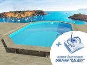 "Piscine bois "" Miami "" - 4.86 x 3.36 x 1.20 m +  Robot Dolphin ""Galaxy"""