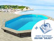 """Piscine bois """" Brazilia """"  5.86 x 3.86 x 1.20 m + Robot Dolphin """"Galaxy"""""""