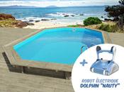 "Piscine bois ""Florida"" - 6.57 x 4.57 x 1.31 m + Robot Dolphin ""Nauty"""