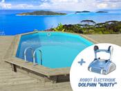 "Piscine bois "" Havana "" 7.57 x 4.07 x 1.44 m + Robot Dolphin ""Nauty"""