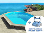"Piscine bois "" Cancun "" - 6.53 x 4.41 x 1.45 m + Robot Dolphin ""Nauty"""