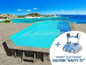 """Piscine bois """" Ibiza """" - 8.57 x 4.57 x 1.31 m + Robot Dolphin """"Nauty TC"""""""