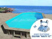 "Piscine bois "" Sevilla "" - 8.57 x 4.57 x 1.45 m + Robot Dolphin ""Nauty TC"""