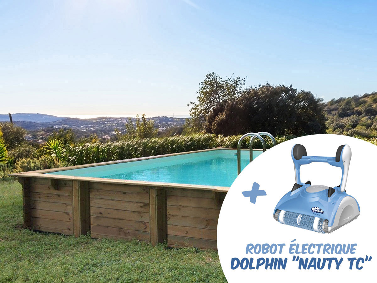 Piscine bois en kit rectangle Tampa - 7.20 x 4.20 x 1.44 m + Robot Dolphin Nauty TC