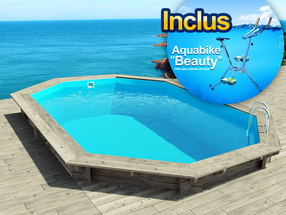 Piscine bois cancun x x m aquabike for Changer margelle piscine