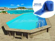 Piscine bois   Ibiza   - 8.57 x 4.57 x 1.31 m + Bâche à bulles