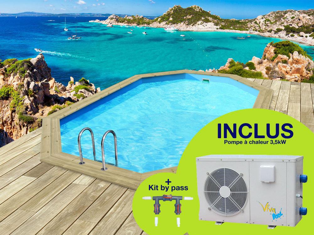 Piscine bois bal ares x x m pompe for Kit piscine bois avec pompe a chaleur