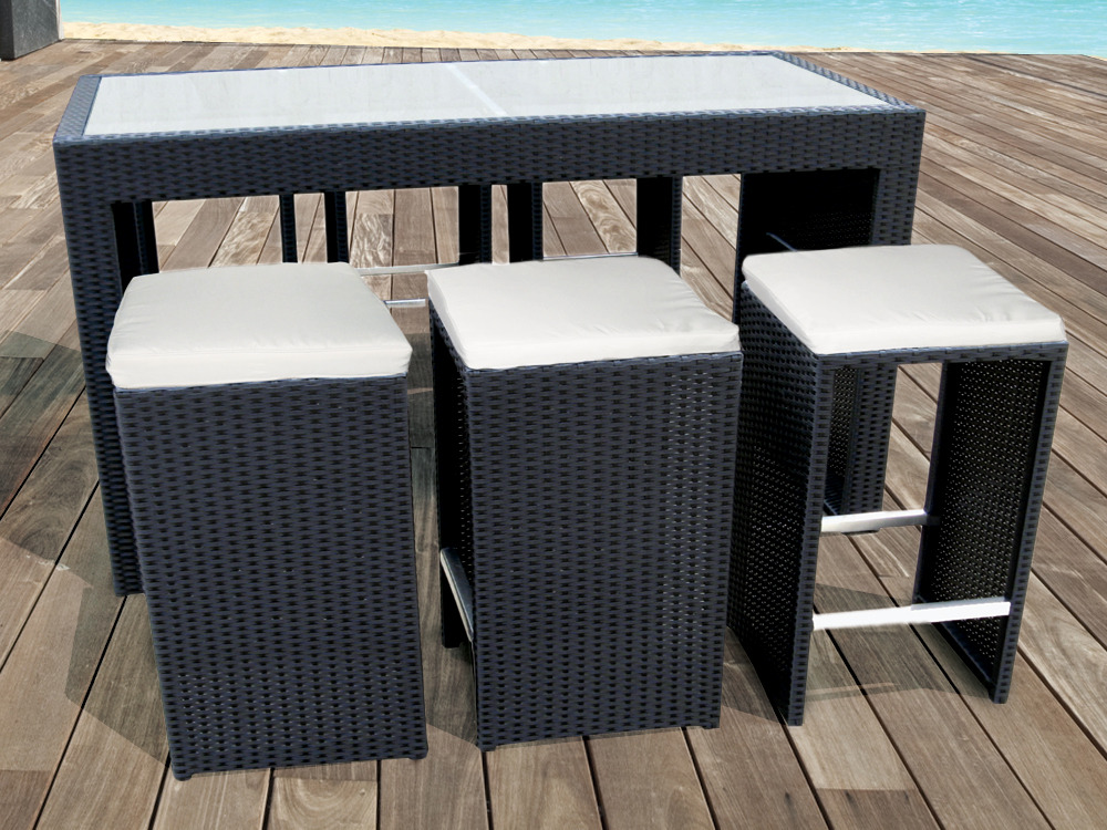 salon bar de jardin santiago en r sine tress e noir 1 table bar 6 tabourets 54473. Black Bedroom Furniture Sets. Home Design Ideas