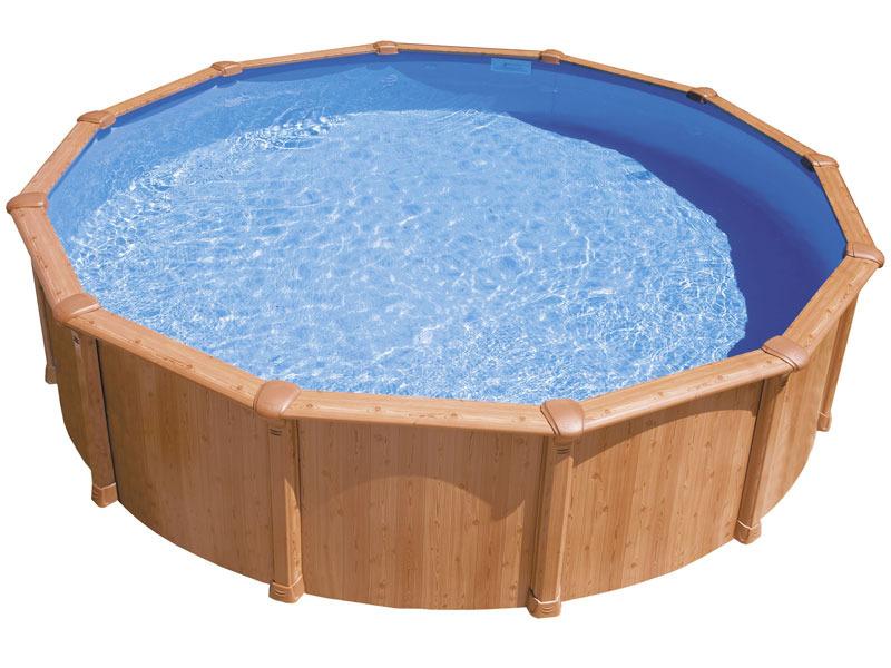 Piscine aspect bois en acier ronde osmose x for Liner piscine ronde 5 50