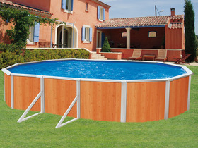 Piscine en kit aspect bois en acier ovale clipper 7 for Piscine hors sol 7 30 3 70