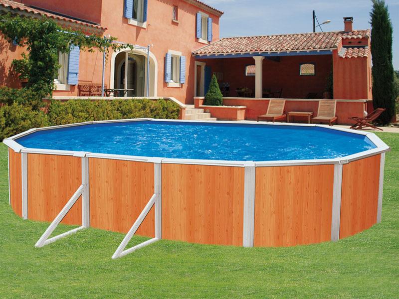 Piscine en kit aspect bois en acier ovale clipper 9 for Liner piscine 3 60 1 20