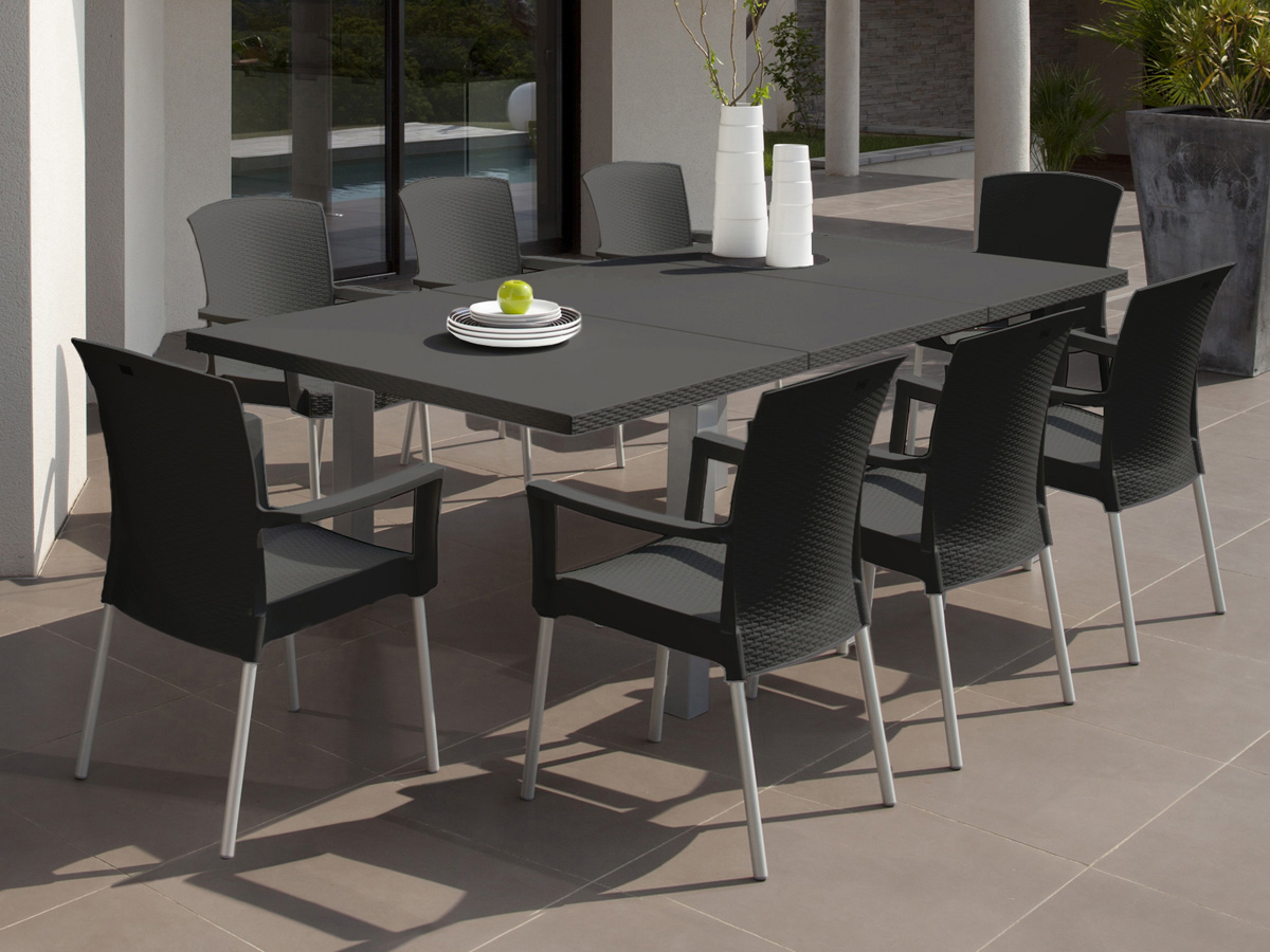 Salon de jardin Ineo - 1 table rectangulaire + 8 fauteuils anthracite