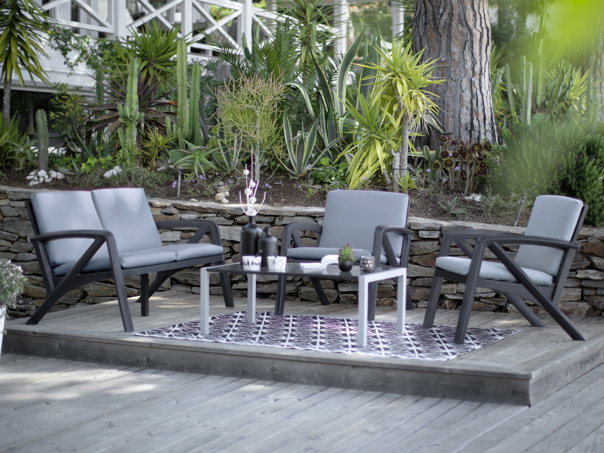 Salon de jardin lounge sunday barcelone 1 canap 2 for Salon jardin habitat