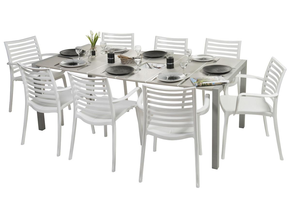 Salon de jardin Sunday - 1 table lin + 8 fauteuils lin