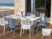"""Salon de jardin """"Sunday"""" - 1 table + 4 fauteuils blancs + 4 fauteuils bleus"""