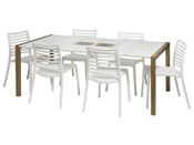 "Salon de jardin ""Sunday"" - 1 table blanc/bois + 8 fauteuils blancs"