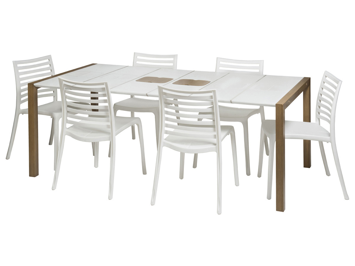 Salon de jardin sunday 1 table blanc bois 8 - Salon de jardin blanc ...