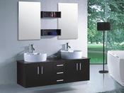 """Meuble de salle de bain - """"Rhin"""" - Noir et marron"""
