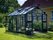 """Serre verre """"Premium"""" - Gris anthracite - 10,9 m² - 3,68 x 2,96 x 2,67 m."""