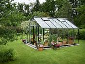 """Serre verre """"Gardener"""" - Aluminium - 16,2 m² - 4,39 x 3,68 x 2,87 m."""