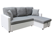 """Canapé d'angle convertible tissu """"Allen"""" - 4 places - Blanc et gris"""