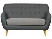 """Canapé fixe tissu 2 places """"Cody"""" - 144 x 78 x 86.5 cm - Coloris gris foncé, coussins gris clair"""