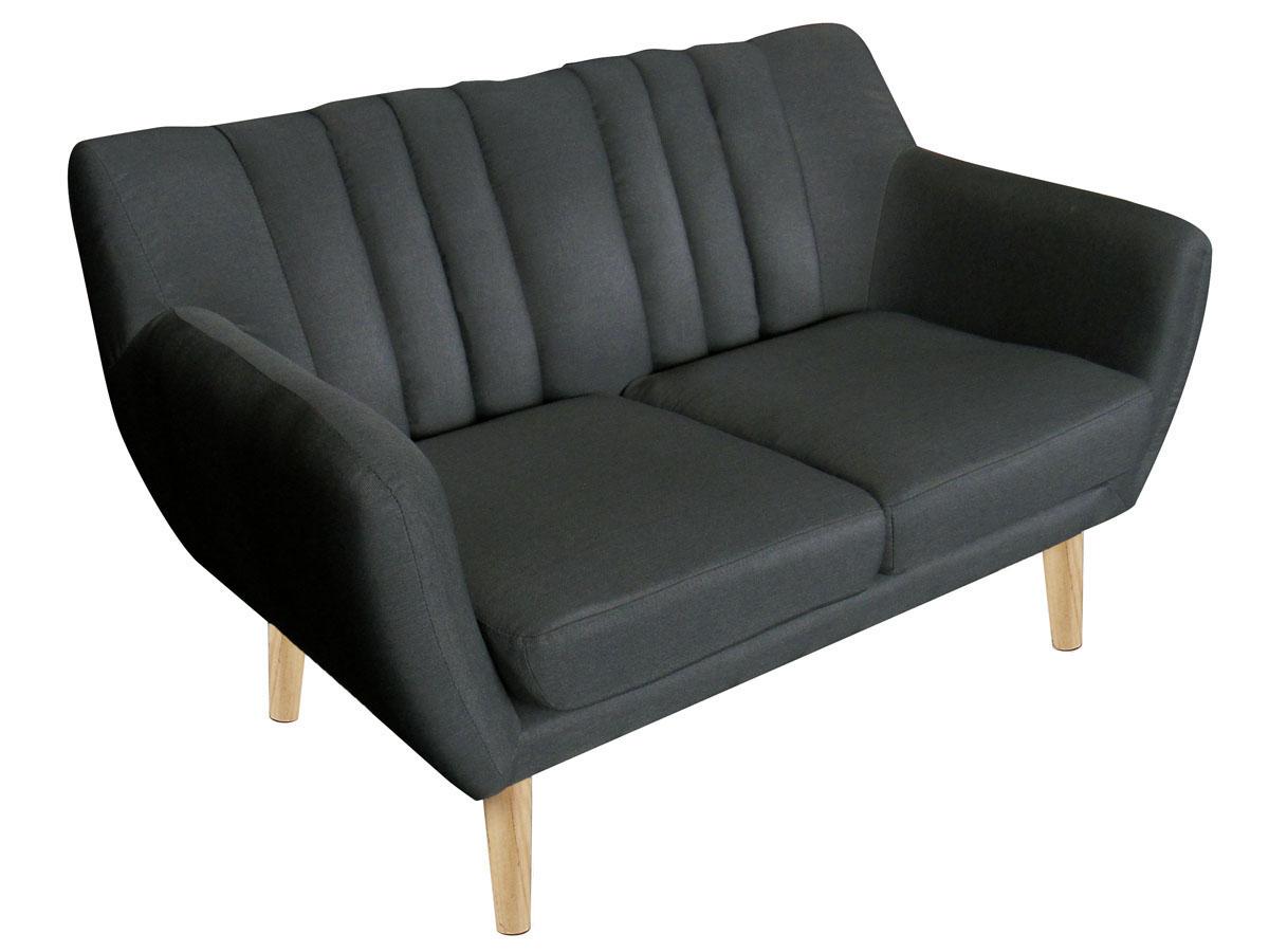 Canapé fixe tissu Billy - 2 places - Gris foncé