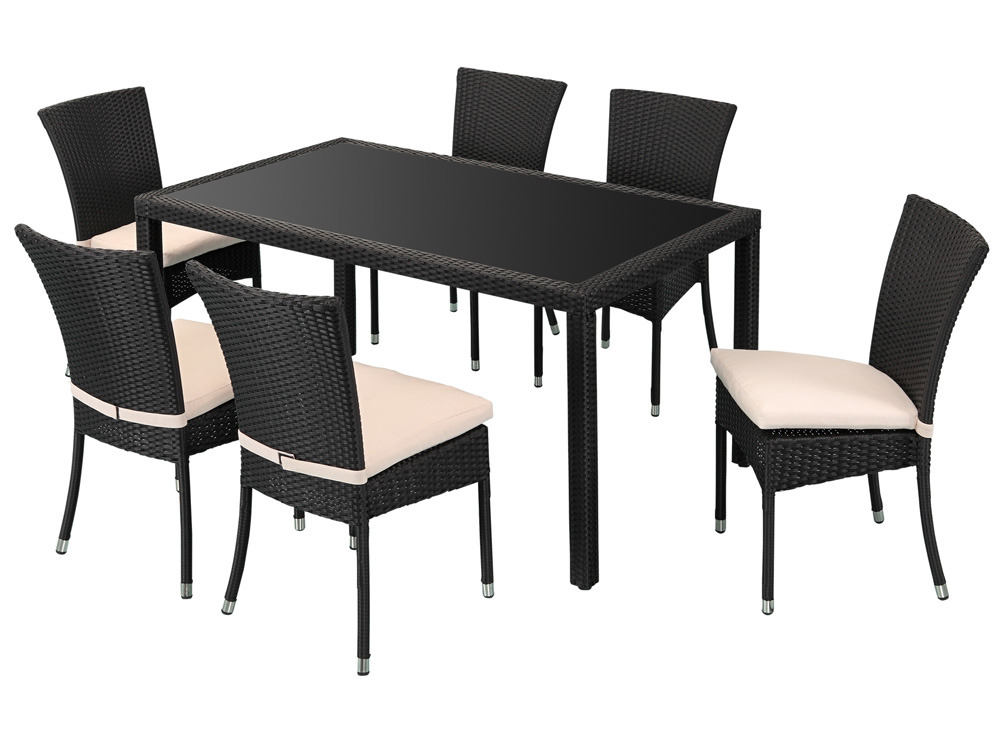 Salon jardin noir celia en r sine tress e 1 table 6 - Salon de jardin table et chaise ...