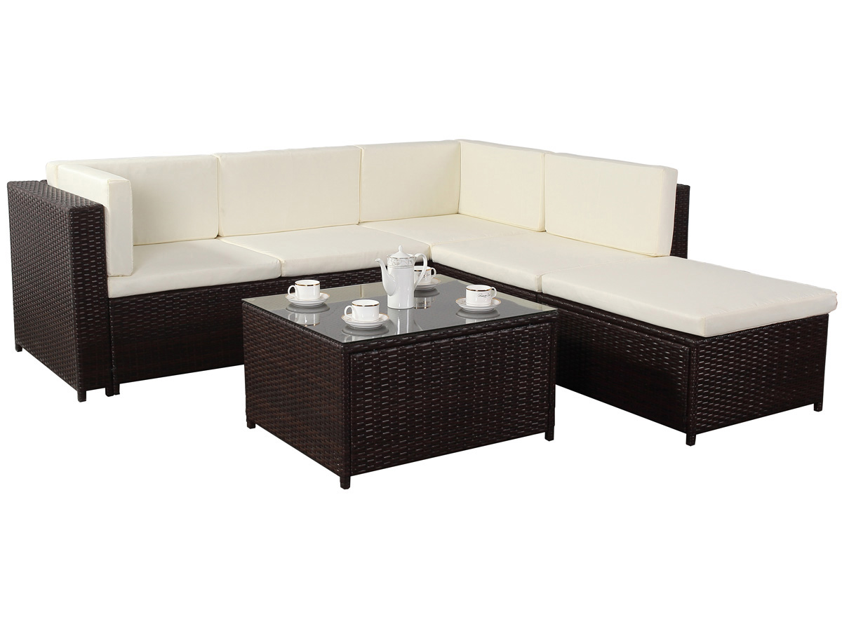 salon de jardin en r sine tress e boston 1 canap d 39 angle 1 table basse 76639. Black Bedroom Furniture Sets. Home Design Ideas