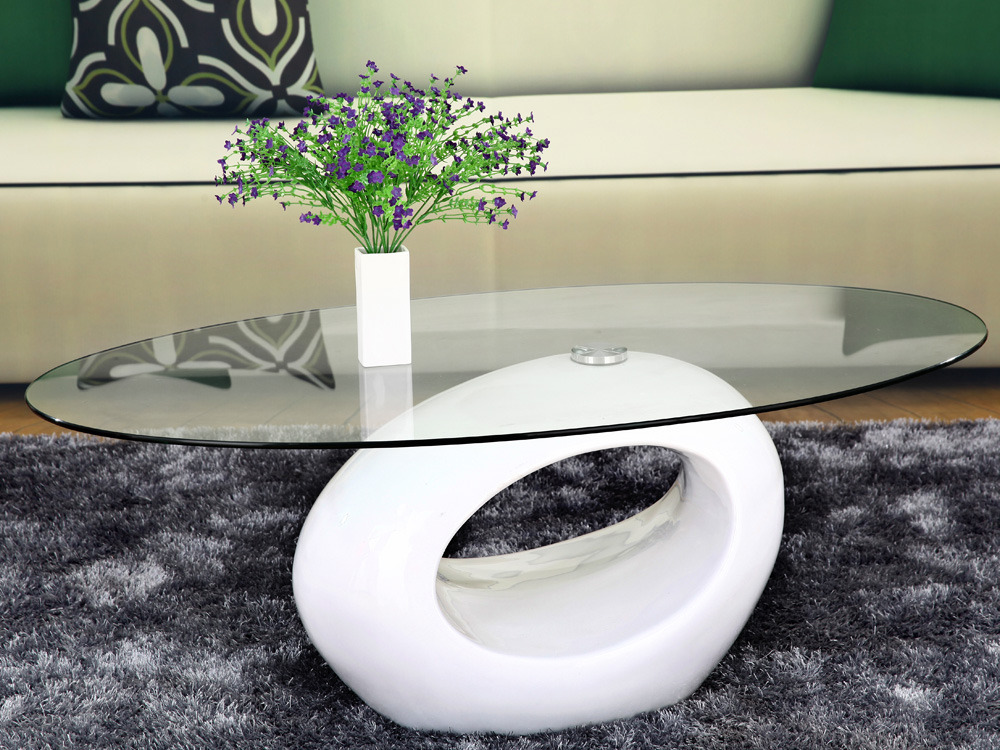table basse ovale jeny en mdf laqu blanc 58319 65189. Black Bedroom Furniture Sets. Home Design Ideas