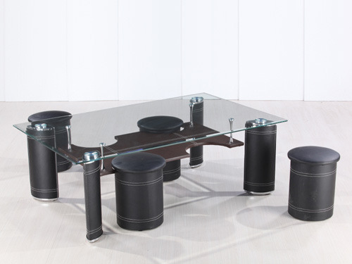 table basse rectangulaire en verre julia avec 4 poufs 58448. Black Bedroom Furniture Sets. Home Design Ideas