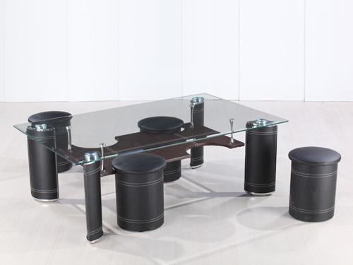 Table basse rectangulaire en verre julia avec 4 poufs 58448 - Table basse en verre avec pouf ...