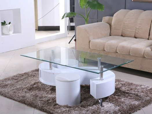 Table basse design en verre alicia structure laqu blanc 58452 - Table basse en verre blanc ...